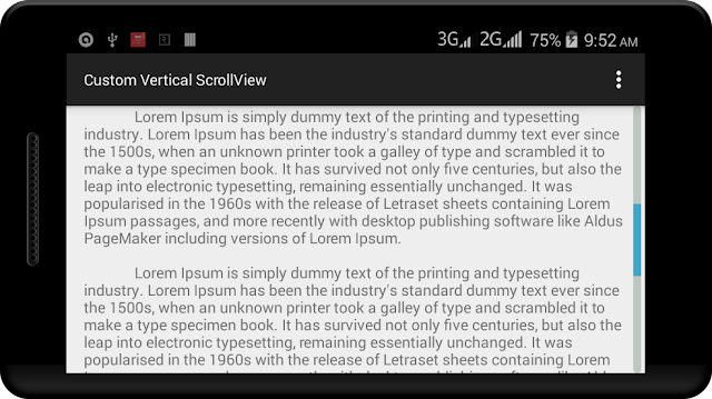 Android Custom Vertical ScrollView Example