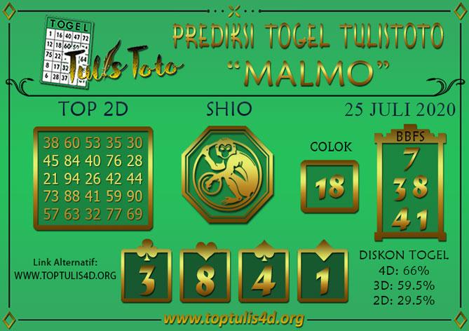 Prediksi Togel MALMO TULISTOTO 25 JULI 2020