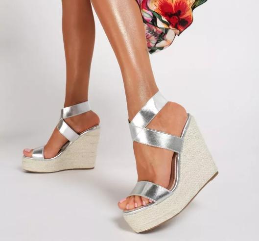 Sandale cu platforma inalta la moda de vara Argintii piele eco la reducere