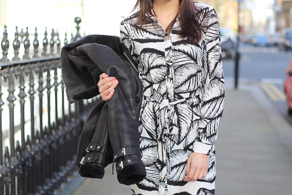 palm print shirt dress in the style