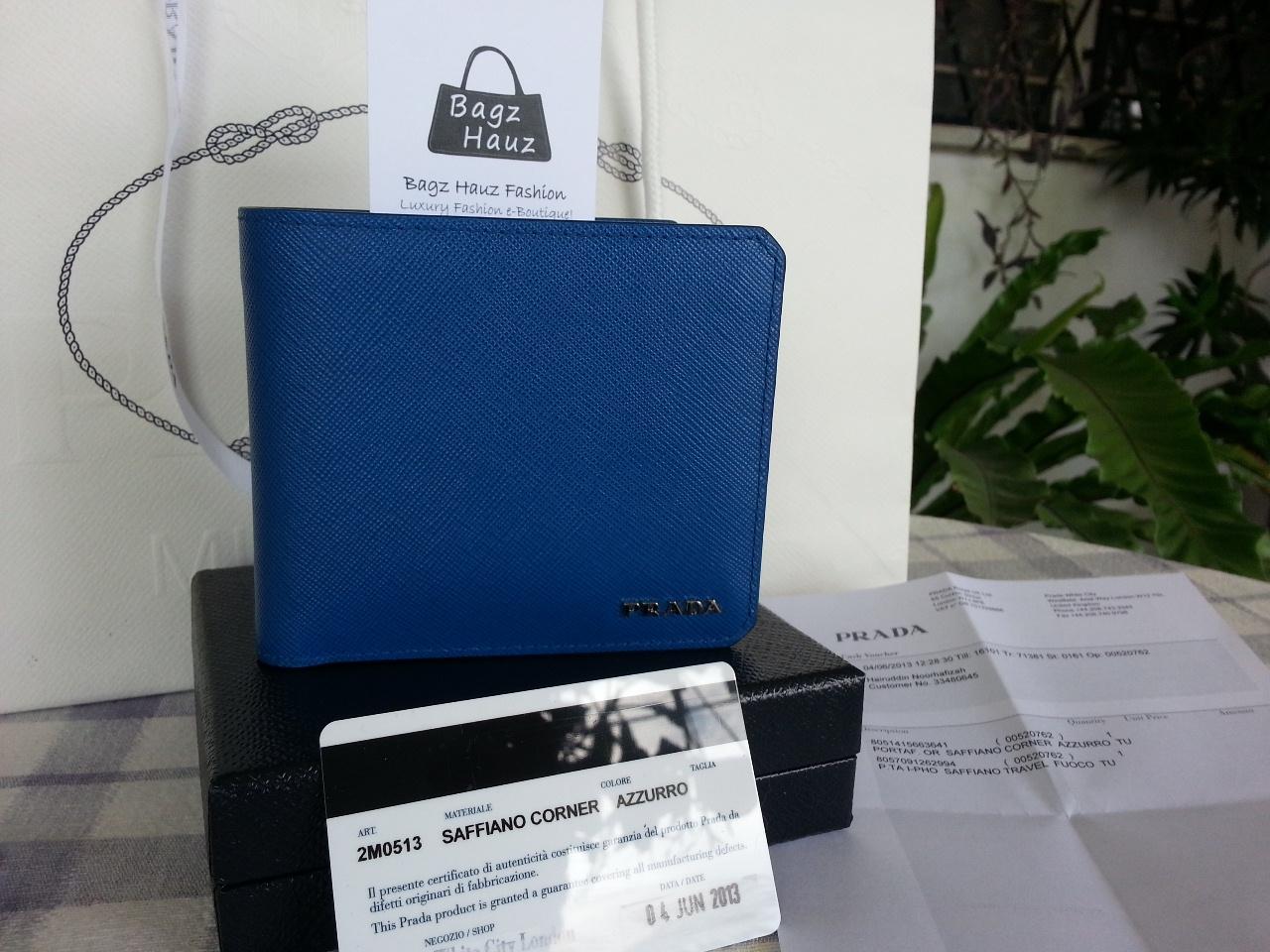 d8e88c251ea3 PRADA 2M0513 Saffiano Leather Wallet in Azzurro ~ On behalf of AN ~