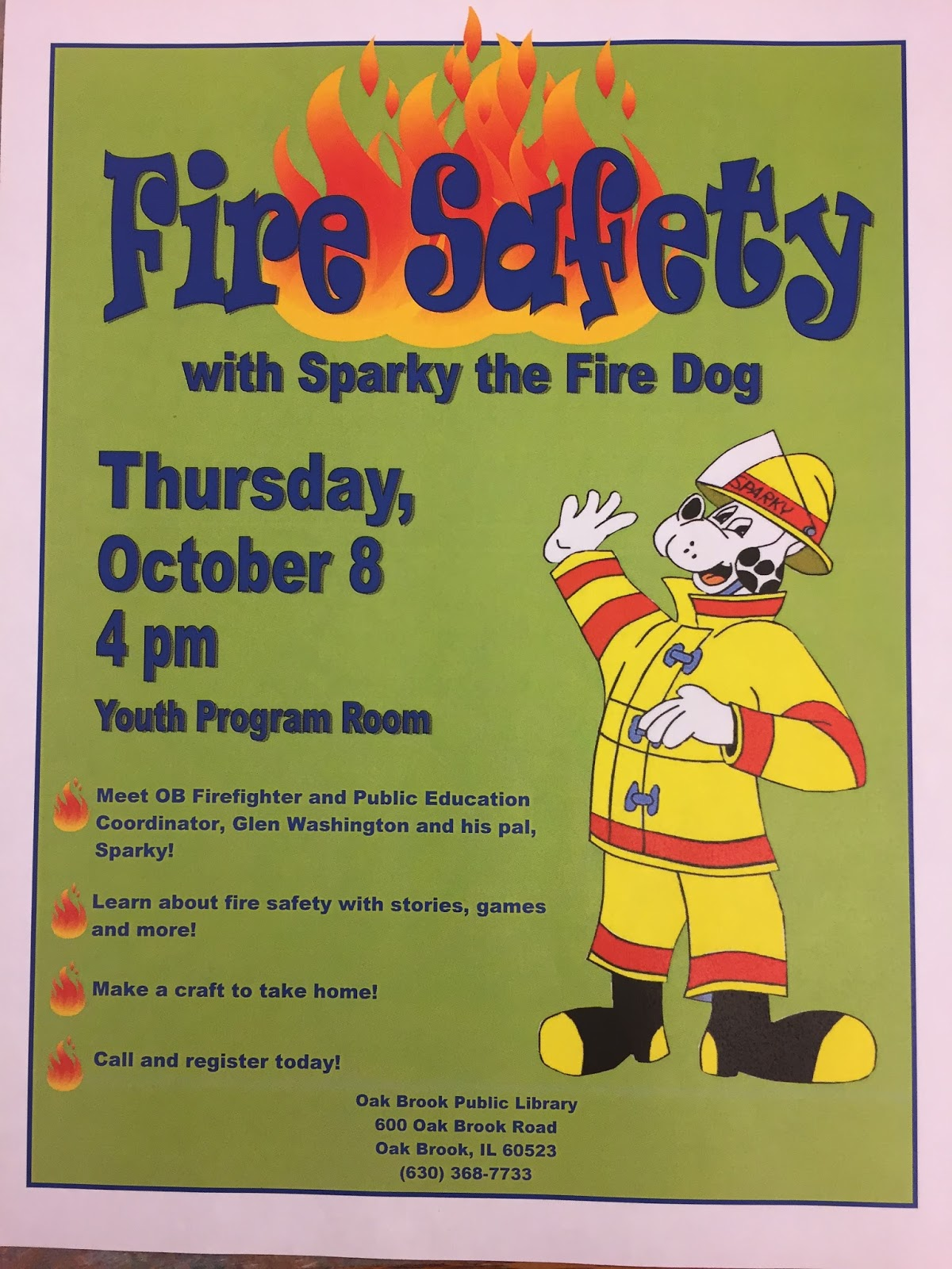 Obpl Youth Services Blog Fire Safety With Sparky The Fire Dog