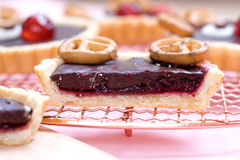 vegan cherry chocolate reindeer tartlets