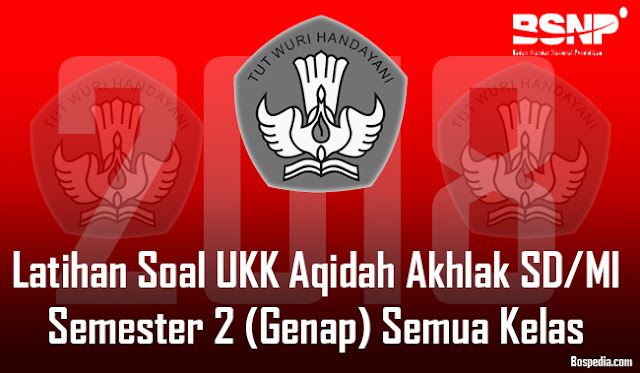 Lengkap - Latihan Soal UKK Aqidah Akhlak SD/MI Semester 2 (Genap) Semua Kelas Tahun 2017/2018