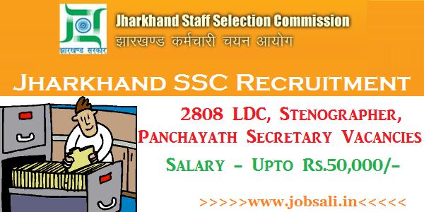 JSSC Recruitment 2017, Jharkhand SSC Online application form, JSSC Vacancy 2017