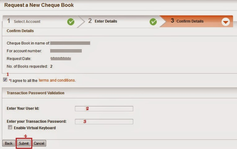 Bank of Baroda Request Cheque Book - Step 3