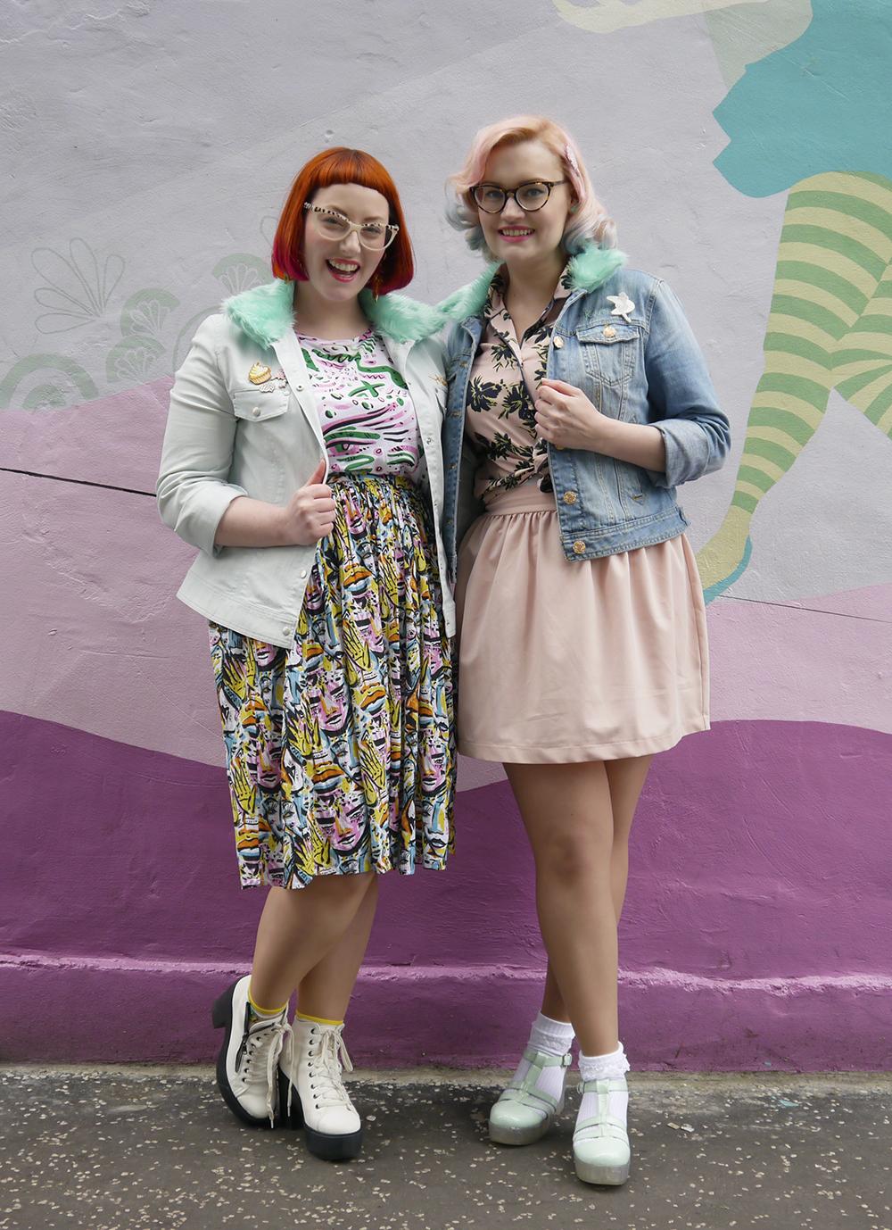 blog birthday, blogging duo, Edinburgh bloggers, Scottish bloggers, blogger style, Edinburgh street style, colourful style, clashing prints, pink hair, dip dye, red hair, ginger, girls who wear glasses, Monki style, customised denim jackets, milkshakes, Rollershakes, Hawaiian shirts, faux fur, ice cream cone graffiti, Edinburgh street art, colourful wall art