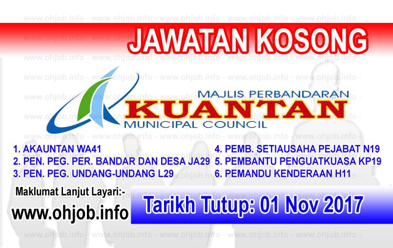 Jawatan Kerja Kosong MPK - Majlis Perbandaran Kuantanlogo www.ohjob.info november 2017