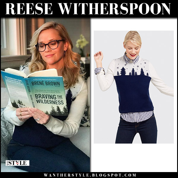 Reese Witherspoon in white and navy knit sweater draper james winter fashion january 9