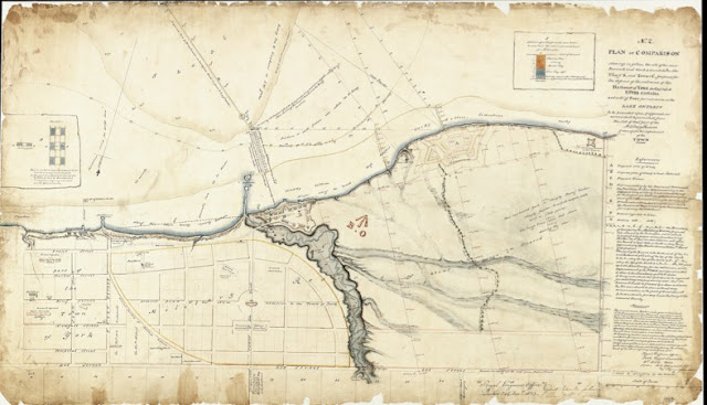 1833 RH Bonnycastle No. 2 Plan of Comparison shewing ... the site of the new Barrack