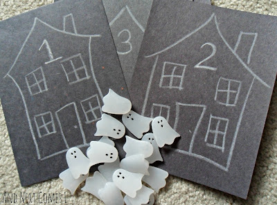 Materials in the ghost counting Halloween busy bag for kids from And Next Comes L