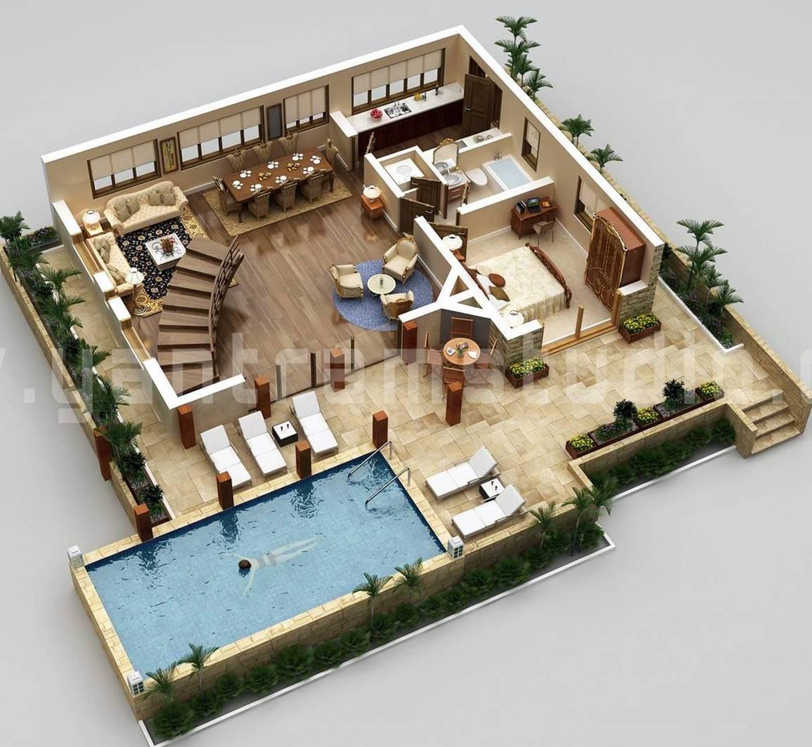 Custom Stylish Modern House 3D Floor Plans