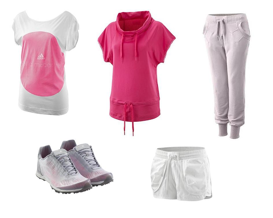 6128cc3cbb1cd Collage ropa para gimnasio de Stella McCartney Adidas en color rosa y blanco
