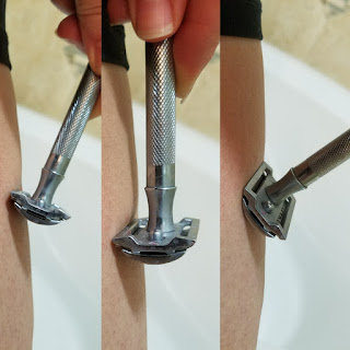 Maintain proper blade angle to get a close shave with a safety razor and not get cut.