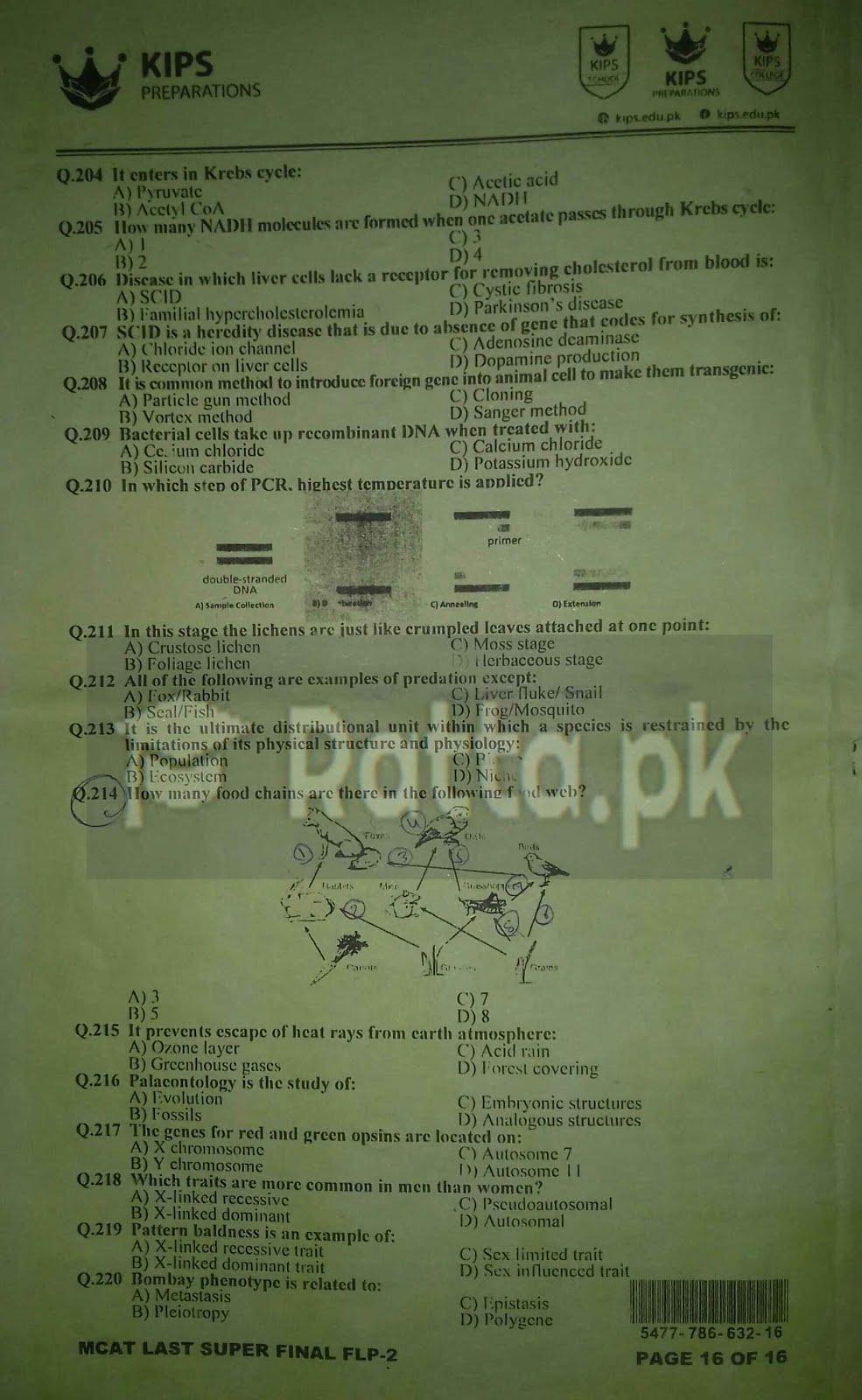 KIPS MCAT Biology Full Length Paper-2 5