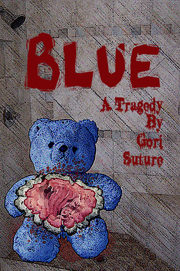 picture of a blue teddy bear with guts