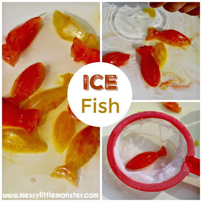 Ice fish play for toddlers and preschoolers.  A simple summer activity idea for kids that is easy to set up.