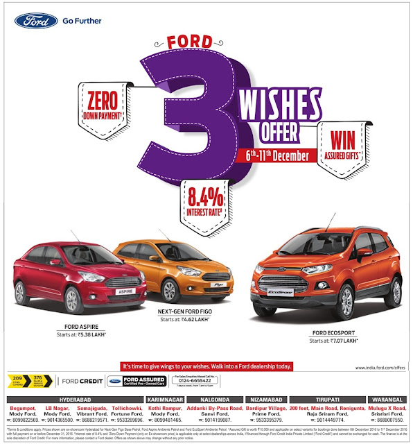 Ford cars with zero (0) down payment and lowest rate of interest | December 2016 year end sale festival discount offers