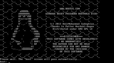 Root25 Windows reset password CD is a bootable linux disk for removing windows password
