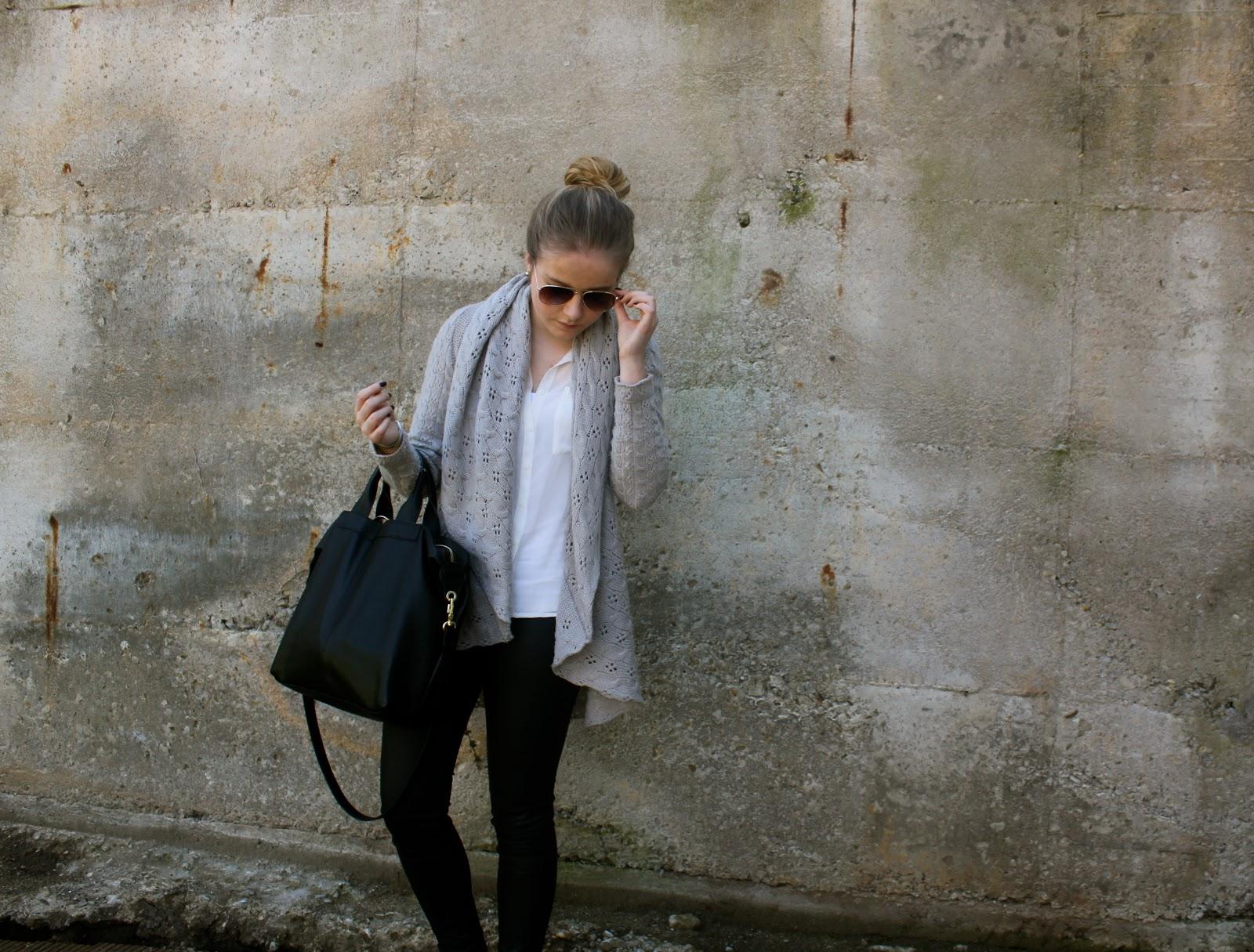 la couture outfit cozy cardigan leather pants. Black Bedroom Furniture Sets. Home Design Ideas