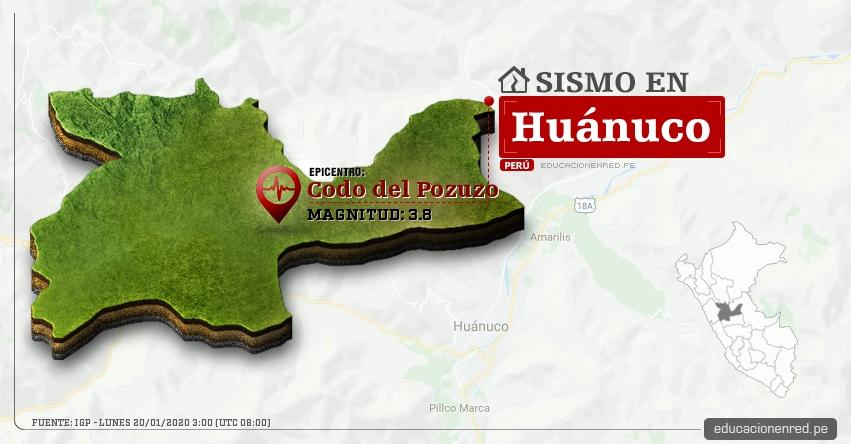 Temblor en Huánuco de Magnitud 3.8 (Hoy Lunes 20 Enero 2020) Sismo - Epicentro - Codo del Pozuzo - Puerto Inca - IGP - www.igp.gob.pe