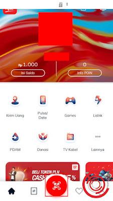 Setelah masuk di aplikasi LinkAja silakan pilih menu bulat di tengah-tengah yang ada semacam kode QR nya