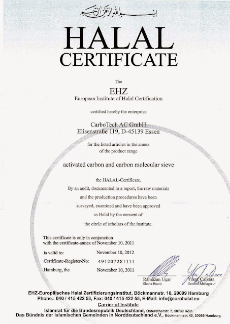 Sertifikat Halal Karbon Aktif Jacobi, Calgon, Carbotech, Haycarb