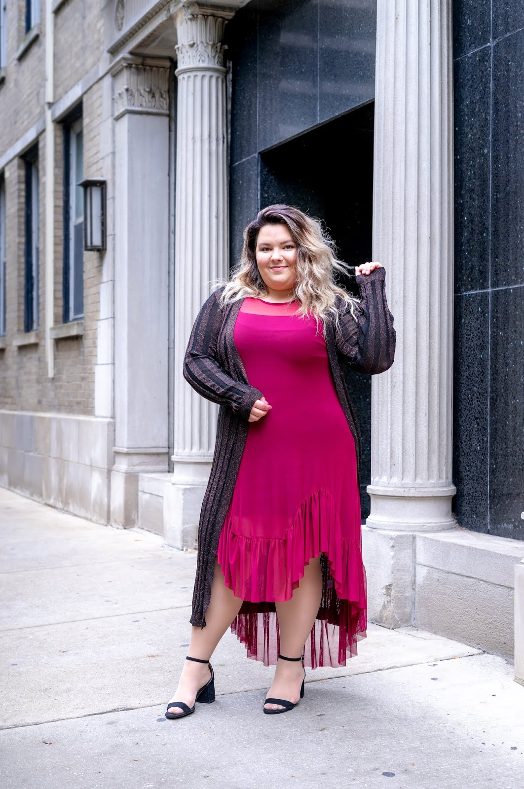 Chicago fashion blogger, Chicago plus size fashion blogger, natalie Craig, natalie in the city, plus size fashion, Chicago fashion, plus size fashion blogger, eff your beauty standards, fatshion, skorch magazine, Chicago model, plus size model, plus size petite, affordable plus size clothing, embrace your curves, plus model magazine,  petite plus size, body positive, fall fashion 2018, fashion nova curve, fashion nova, plus size dresses, ruffle dresses, high low dresses, wide width block heels