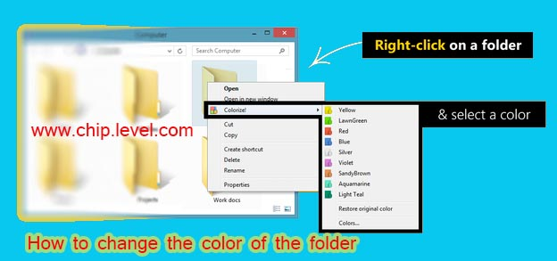 How to change the color of the folder