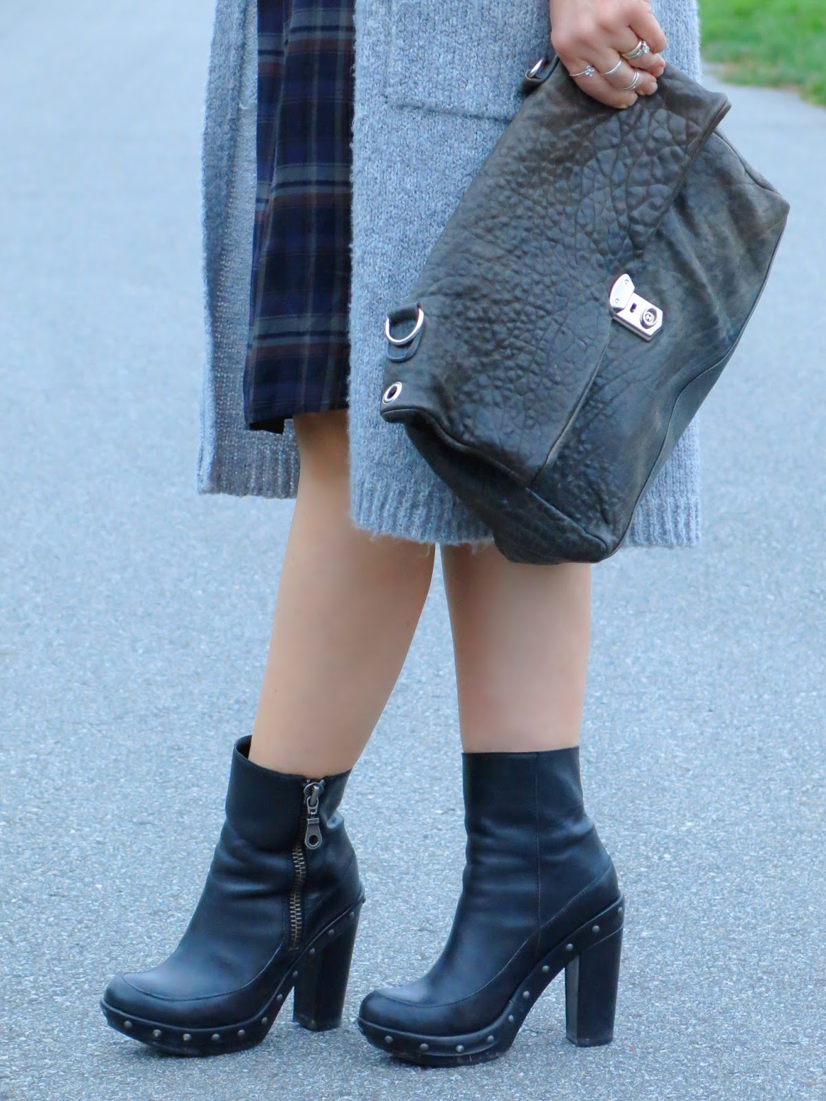 plaid shirtdress with a long cardigan, chunky booties, and pebble-textured satchel