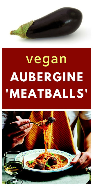 Rich meat-free 'meatballs' made with aubergine (eggplant), black olives and puy lentils. Served with spaghetti coated in a fresh tomato sauce #beanballs #veganmeatballs #meatballs #spaghetti #veganpasta #aubergine #eggplant #augerginemeatbals #eggplantmeatballs #olives