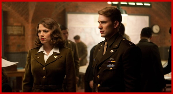 Chris Evans and Hayley Atwell in Captain America