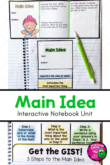 Main Idea Reading Strategy Unit: Notes, Practice, & Assessment - Let your 2nd, 3rd, 4th, & 5th grade classroom or home school students get loads of great reading practice with this 28 page unit. You get interactive notebook & worksheet format sheets. Steps include notes, practice in small groups or with a partner, journal, individual practice, and assessment. Great for ELA, reading strategies, literature circles, interactive notebooks, and more. {second, third, fourth, fifth graders, homeschool}