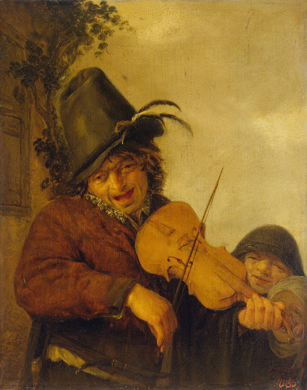 Wandering Musician by Adriaen van Ostade - Genre Paintings from Hermitage Museum