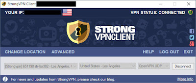 StrongVPN client screensot