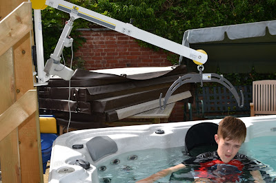 Handi-Move disabled access hoist for hot tubs.
