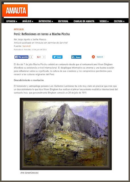 MACHU PICCHU-PINTURA-PERU-ARTICULOS-AMAUTA-ARTISTA-PINTOR-ERNEST DESCALS-
