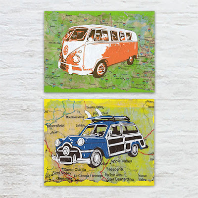 Woody car and Kombi mixed media art by Kim W. Nolan