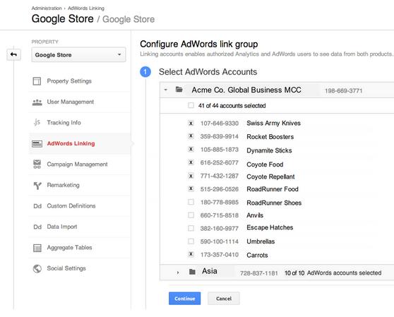 Interface d\'association compte Google Analytics avec Google Adwords