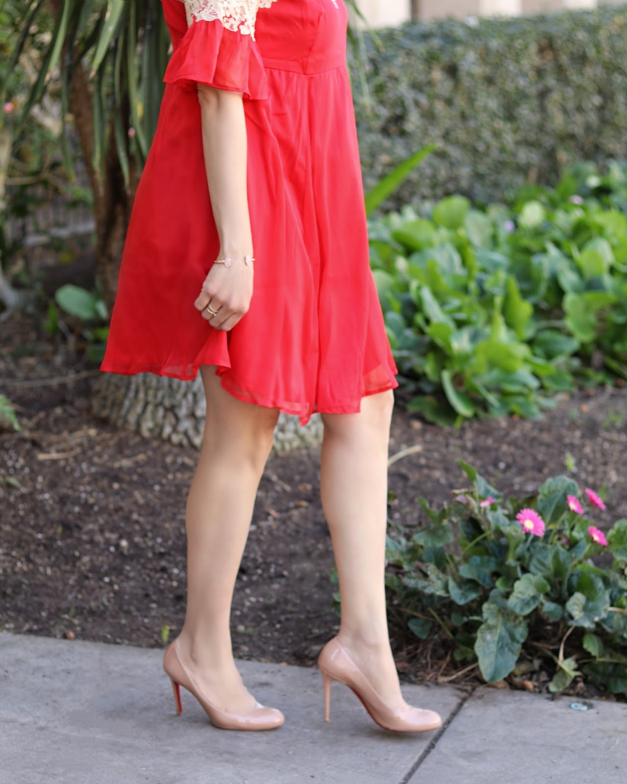 ASOS red dress, christian louboutin nude pumps, san diego style blogger