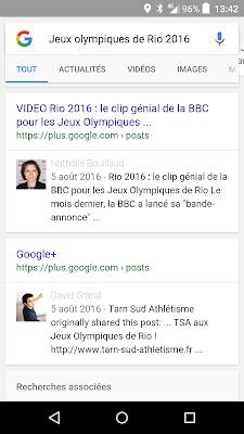google plus et serp - visibilite digitale sur google pour les jeux olympiques de rio 2016