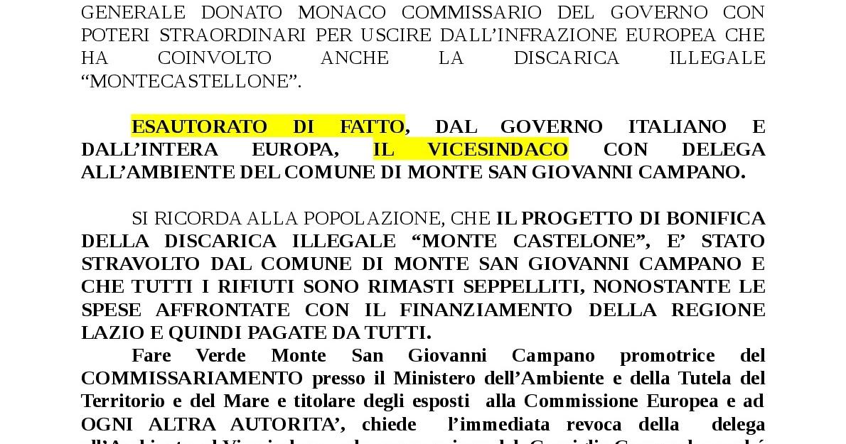 Fare verde onlus monte san giovanni campano fr msgc for Sito governo italiano
