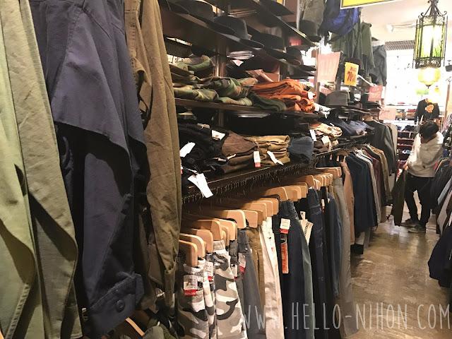 Men's section inJapanese thrift shop