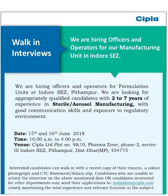 Cipla Limited Walk In Interview At 15  & 16  June