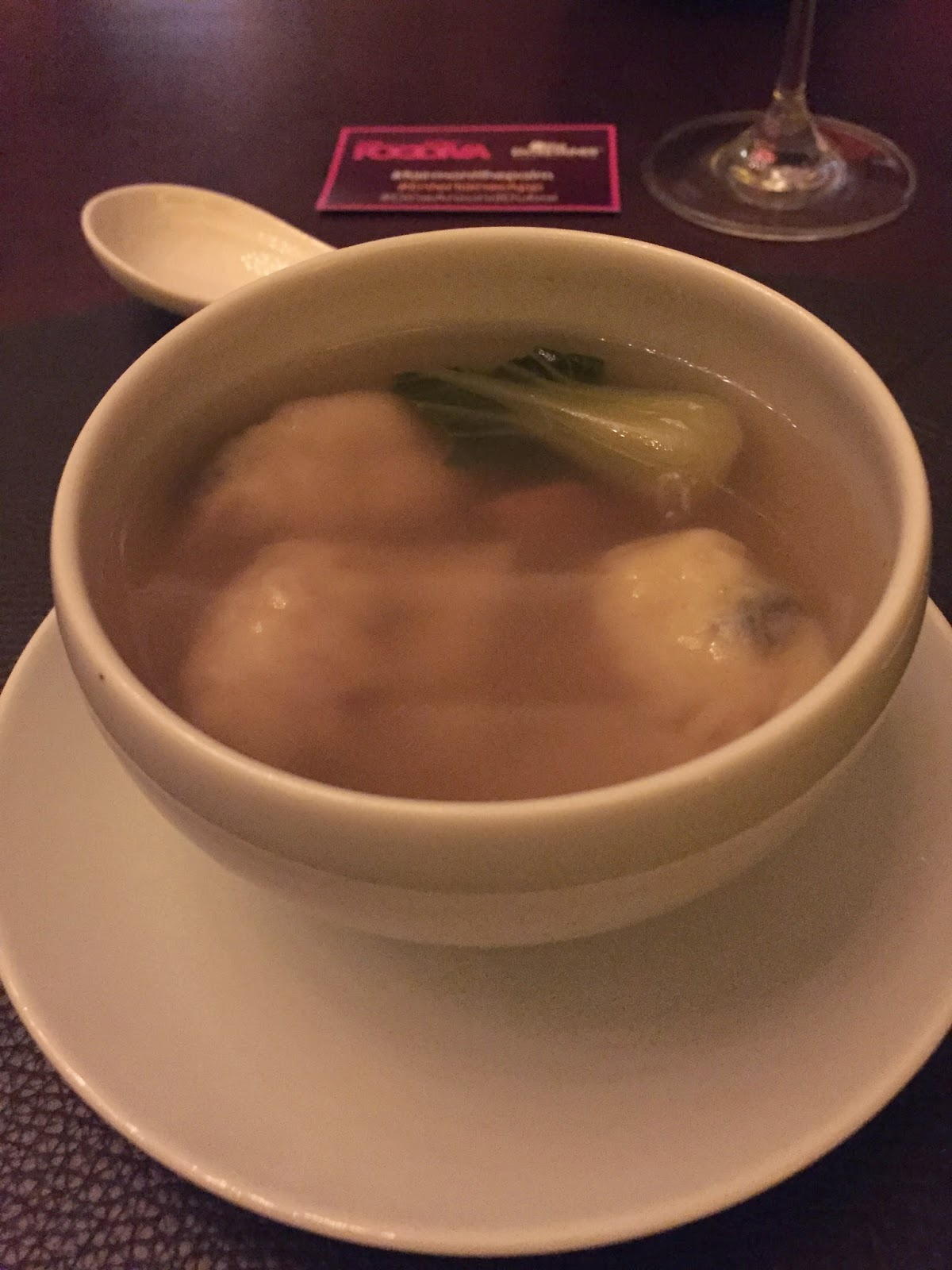 Bā Restaurant & Lounge: chicken and ginger broth with wontons and pak choi