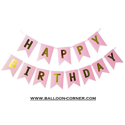 Bunting Flag Segilima HAPPY BIRTHDAY Huruf Hot Print Emas
