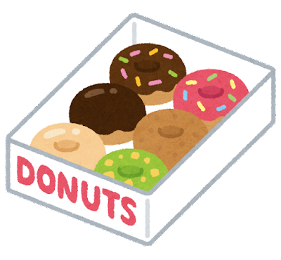 箱に入ったドーナッツのセットのイラスト