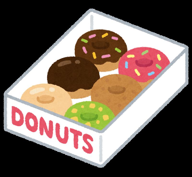 箱に入ったドーナッツのセットのイラスト かわいいフリー素材集 いらすとや