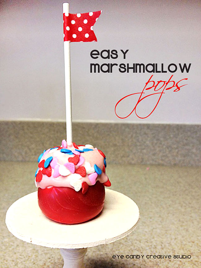 how to make marshmallow pops, mini cake stand, valentine treat idea