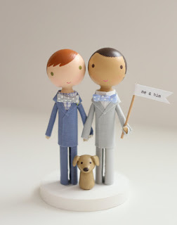 cute wedding cake topper with two grooms